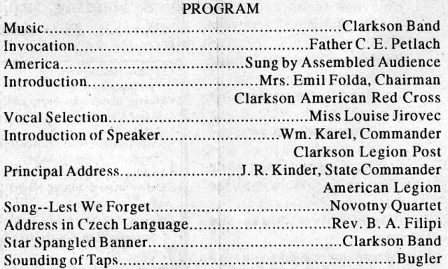 War Memorial Dedication Program