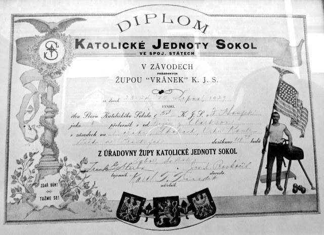 Frank Houfek Sokol Diplom