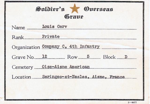 Alois Cerv grave register