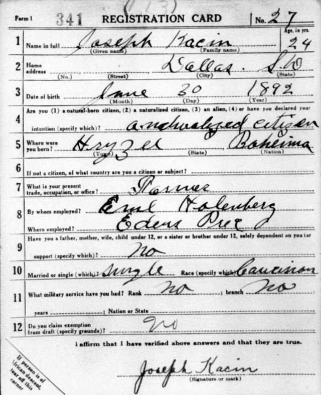 Joseph Kacin draft registration card 1