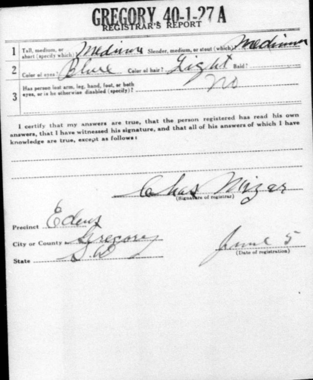 Joseph Kacin draft registration card 2
