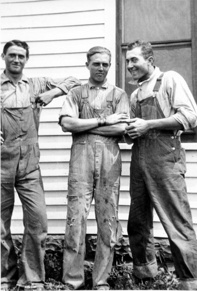 #10 Jim Janecek, George Shafer, and Anton Radhaus - threshing time 1915